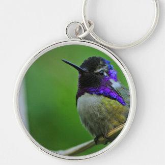 Purple Hummingbird Silver-Colored Round Key Ring