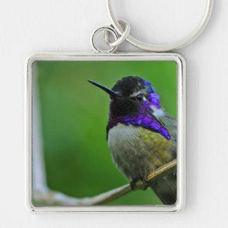 Purple Hummingbird Silver-Colored Square Key Ring