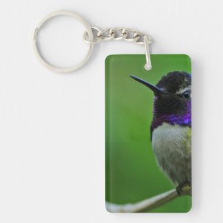 Purple Hummingbird Single-Sided Rectangular Acrylic Key Ring