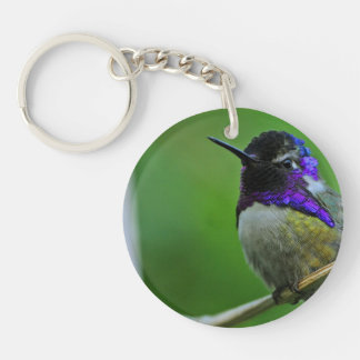 Purple Hummingbird Single-Sided Round Acrylic Key Ring