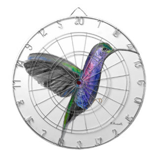 Purple hummingbird watercolour dartboard