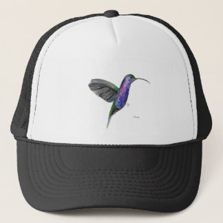 Purple hummingbird watercolour trucker hat