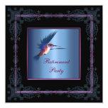 Purple Hummingbird Womans Retirement Party Custom Invitations