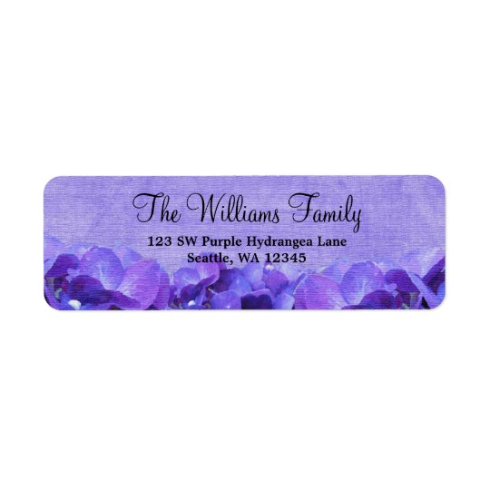 Purple Hydrangea Custom Address Label