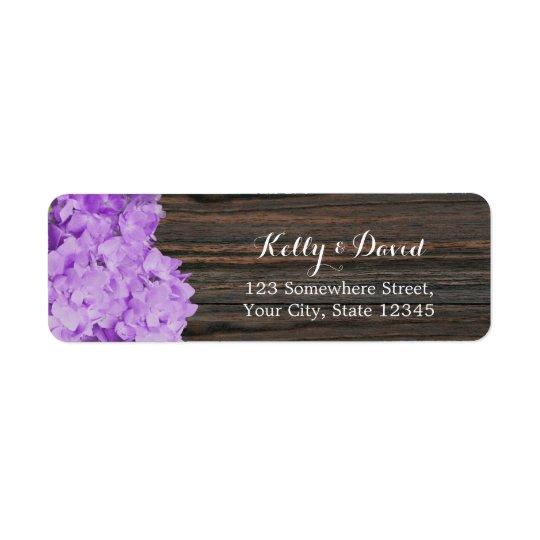 Purple Hydrangea Elegant Wood Rustic Wedding Return Address Label