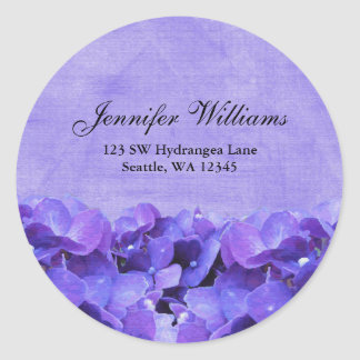 Purple Hydrangea Flower Address Label Sticker