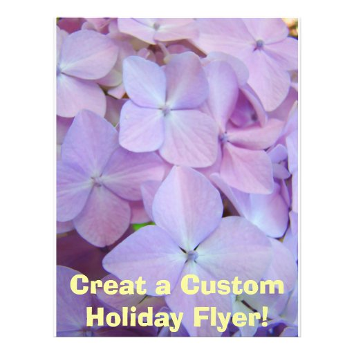 Purple Hydrangea Flowers Holiday Flyer Paper