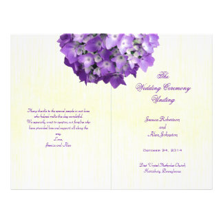 Purple Hydrangea Folded Wedding Program Template Flyer