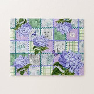 Purple Hydrangea Instagram Photo Quilt Collage Puzzles