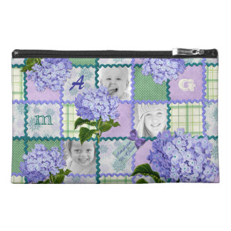 Purple Hydrangea Instagram Photo Quilt Collage Travel Accessory Bag