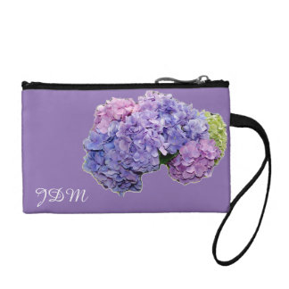 purple hydrangea monogram coin purse