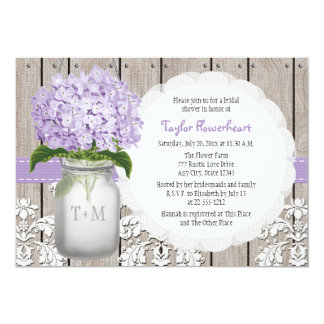 Purple Hydrangea Monogram Mason Jar Bridal Shower 13 Cm X 18 Cm Invitation Card