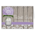 PURPLE Hydrangea Monogrammed Mason Jar THANK YOU Card