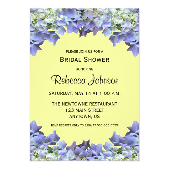 Purple Hydrangea on Yellow Bridal Shower Card