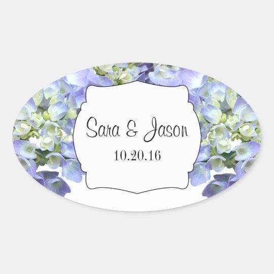 Purple hydrangea Personalised Wedding Oval Sticker