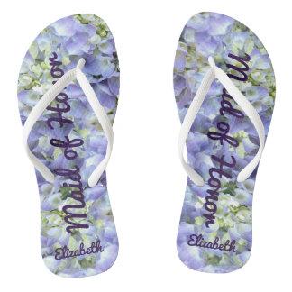 Purple Hydrangea Personalized Maid of Honor Flip Flops