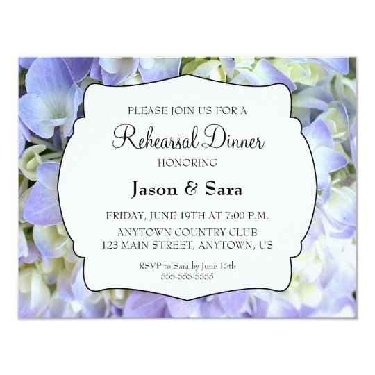 Purple Hydrangea Rehearsal Dinner Card