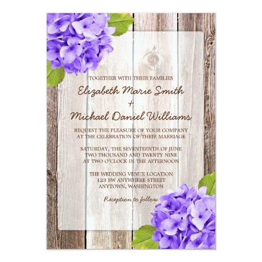 Purple Hydrangea Rustic Floral Barn Wood Wedding Card