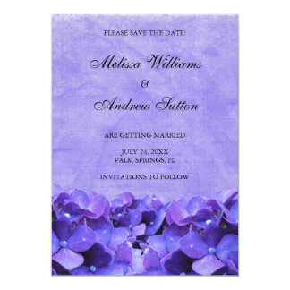 Purple Hydrangea Save the Date Announcement