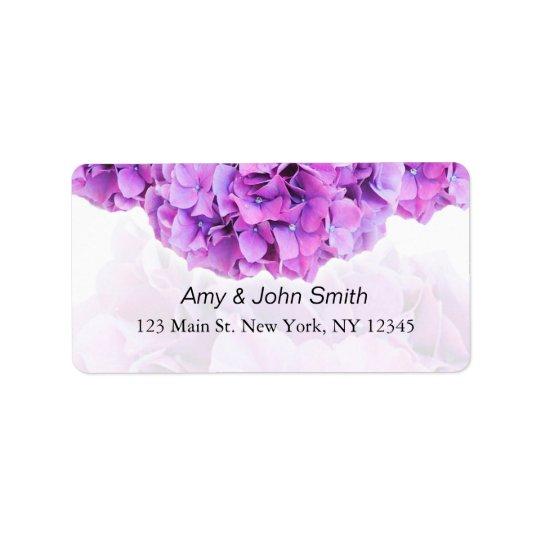 Purple hydrangea wedding address labels hydrangea4