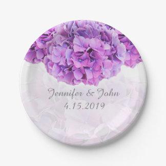Purple Hydrangea Wedding Collection Paper Plate