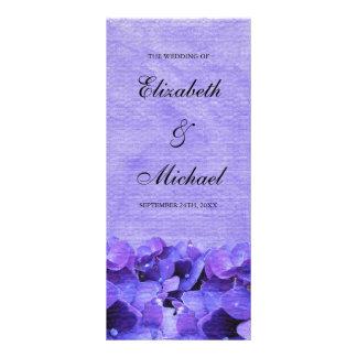 Purple Hydrangea Wedding Program Rack Card