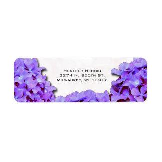 Purple Hydrangea Wedding Return Address