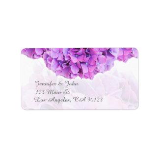 Purple Hydrangea Wedding Return Address Labels