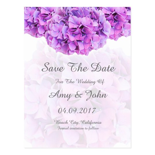 Purple hydrangea wedding save the date postcard