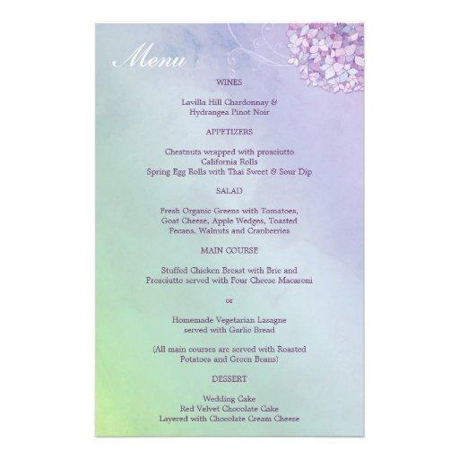 Purple Hydrangeas + Swirls Wedding Reception Menus Flyer Design
