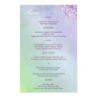 Purple Hydrangeas Wedding Reception Dinner Menu 14 Cm X 21.5 Cm Flyer