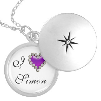Purple i heart name romantic personalized necklace