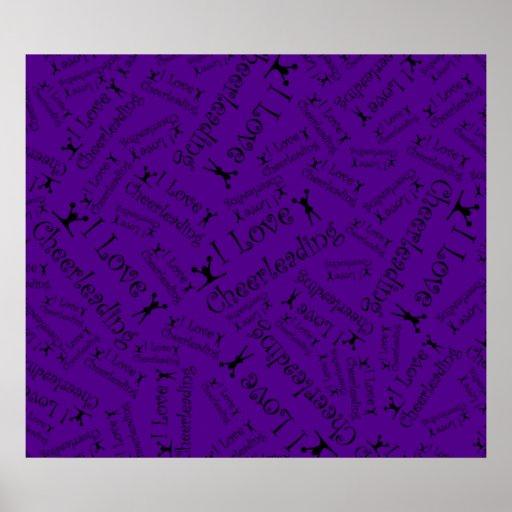 Purple I love cheerleading Posters
