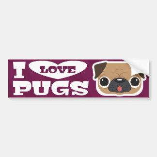 Purple I LOVE PUGS bumpersticker Bumper Sticker