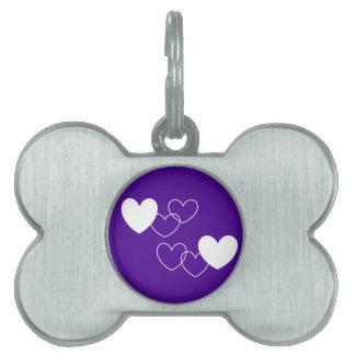 purple I love U pet tag