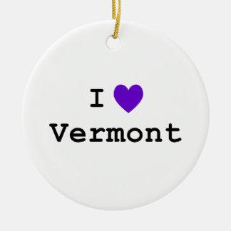 Purple I Love Vermont Christmas Ornament