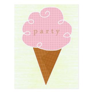Purple Ice Cream Cone Summer Party Invitation Postcard