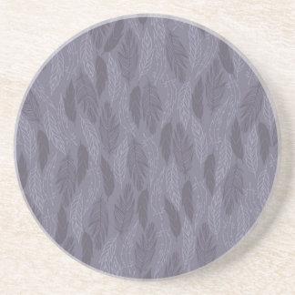 Purple Illustrated Feathers Pattern Coasters