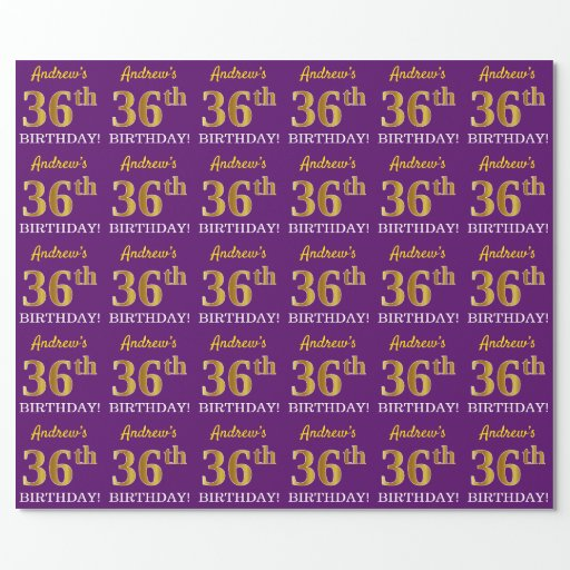 """Purple, Imitation Gold Look """"36th BIRTHDAY"""" Wrapping Paper"""