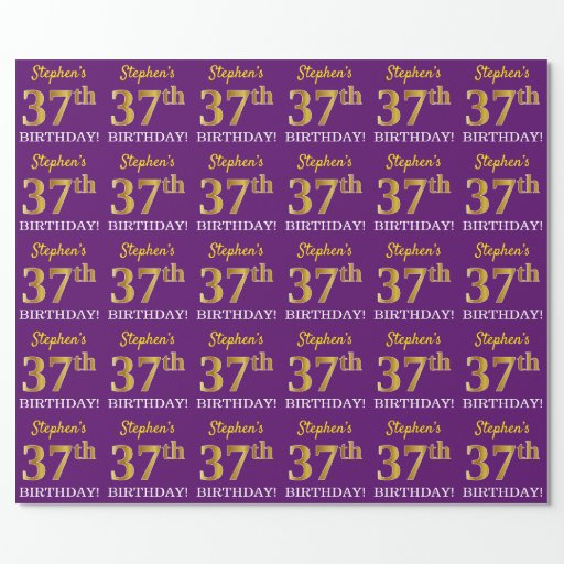 """Purple, Imitation Gold Look """"37th BIRTHDAY"""" Wrapping Paper"""