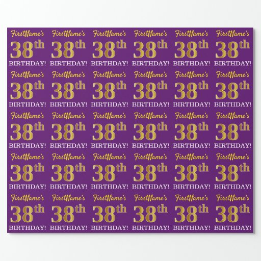 """Purple, Imitation Gold Look """"38th BIRTHDAY"""" Wrapping Paper"""