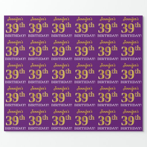 """Purple, Imitation Gold Look """"39th BIRTHDAY"""" Wrapping Paper"""