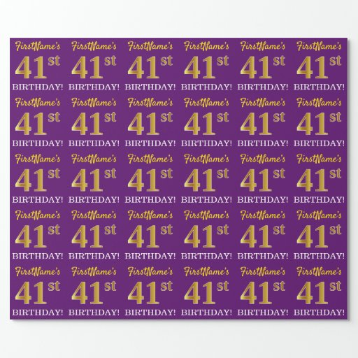 """Purple, Imitation Gold Look """"41st BIRTHDAY"""" Wrapping Paper"""