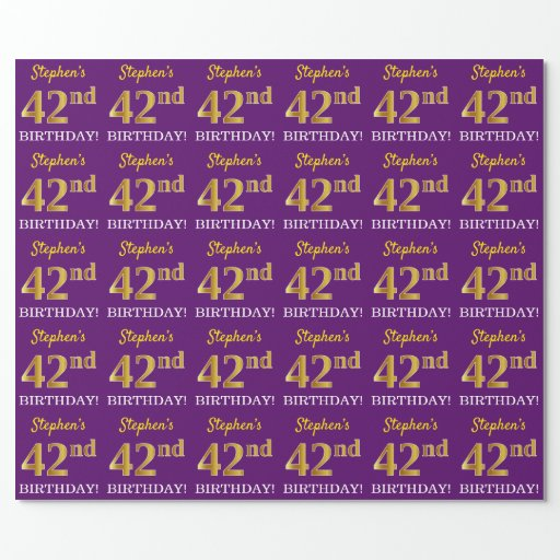 """Purple, Imitation Gold Look """"42nd BIRTHDAY"""" Wrapping Paper"""