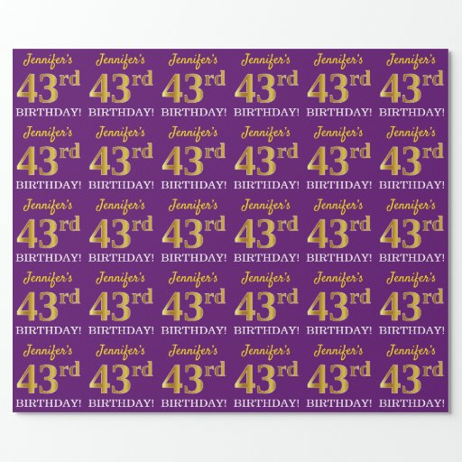 """Purple, Imitation Gold Look """"43rd BIRTHDAY"""" Wrapping Paper"""