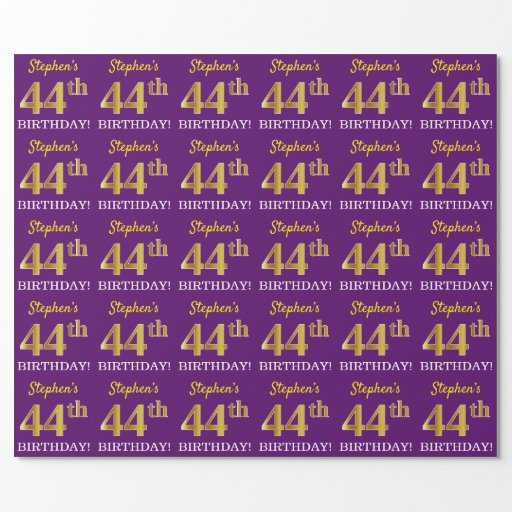 """Purple, Imitation Gold Look """"44th BIRTHDAY"""" Wrapping Paper"""