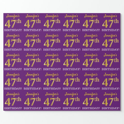 """Purple, Imitation Gold Look """"47th BIRTHDAY"""" Wrapping Paper"""