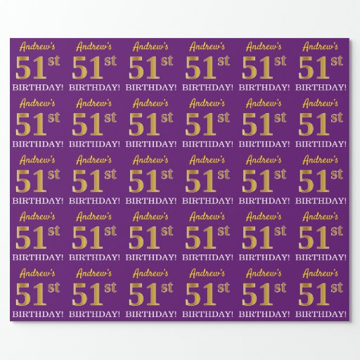 """Purple, Imitation Gold Look """"51st BIRTHDAY"""" Wrapping Paper"""