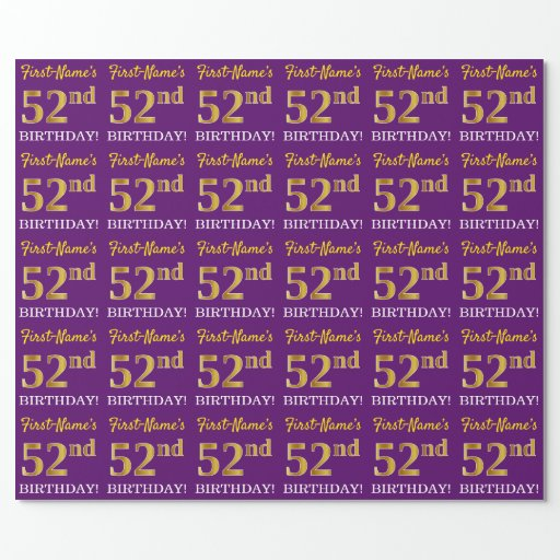 """Purple, Imitation Gold Look """"52nd BIRTHDAY"""" Wrapping Paper"""