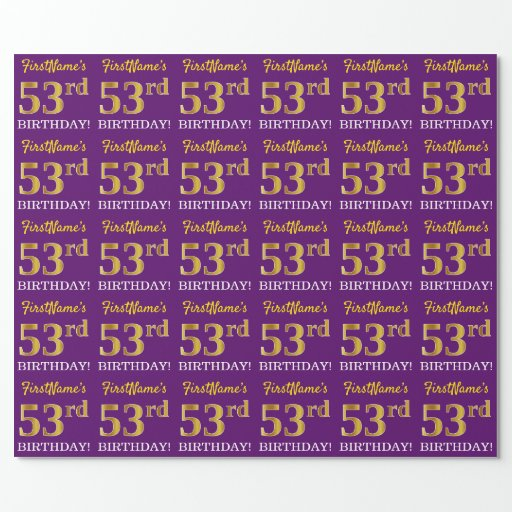 """Purple, Imitation Gold Look """"53rd BIRTHDAY"""" Wrapping Paper"""